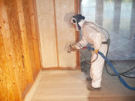 Timber frame walls and concrete ground floors with spray applied polyurethane foam